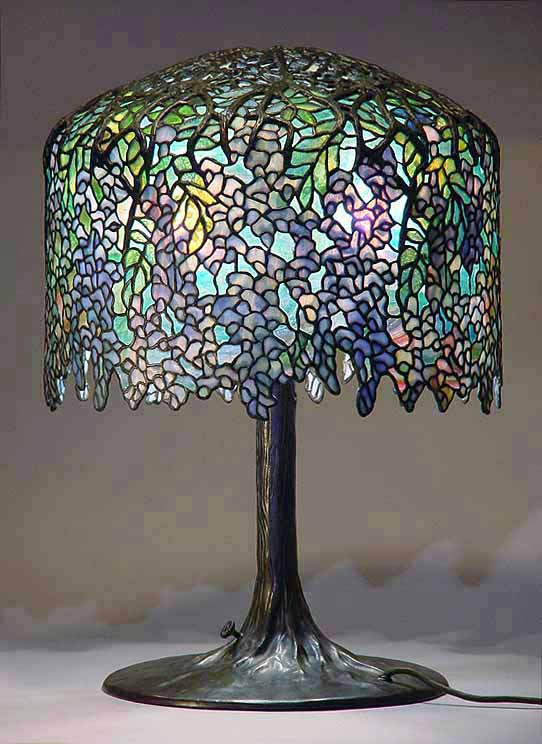 18 Quot Wisteria Leaded Glass Amp Bronze Tiffany Lamp 342