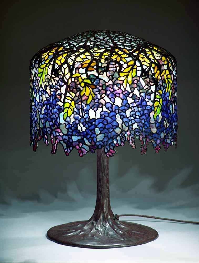 18 Quot Wisteria Royal Blue Leaded Glass Amp Bronze Tiffany Lamp