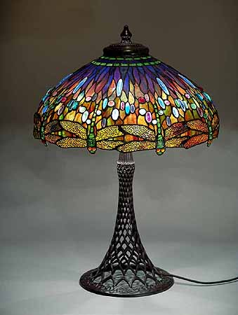 The 22 dragonfly tiffany laded glass lamp on a bronze for 1908 studios tiffany blue dragonfly floor lamp