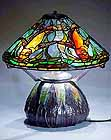 FISH TIFFANY LAMP ON MOSAIC URN