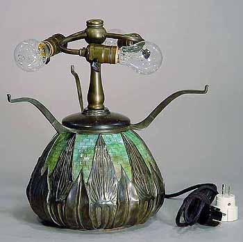 Tiffany lamp base #145 ARROW ROOT GLASS MOSAIC URN