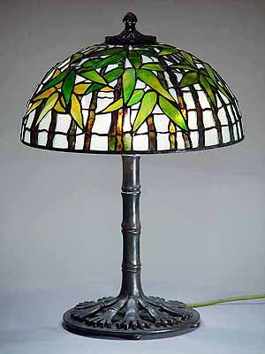 16 Quot Black Bamboo Tiffany Lamp Shade 1443 And Bronze Base 480