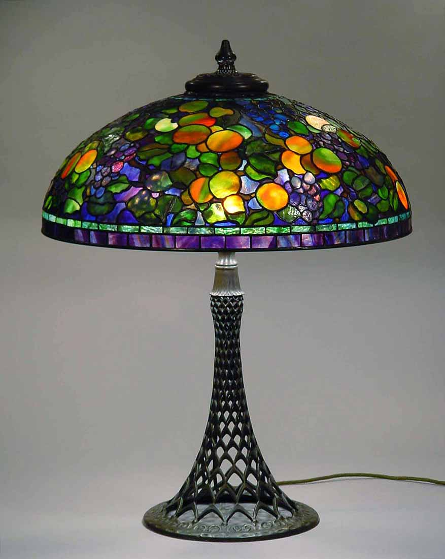 Leaded Glass And Bronze Table Lamp 24 Fruit 1519 Design